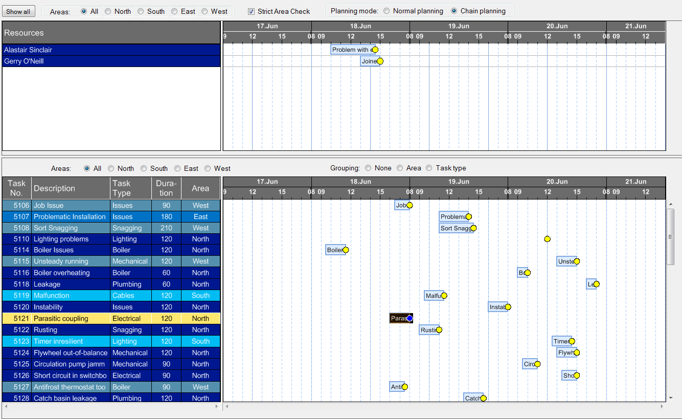 Visualizing a service plan with interactive Gantt chart