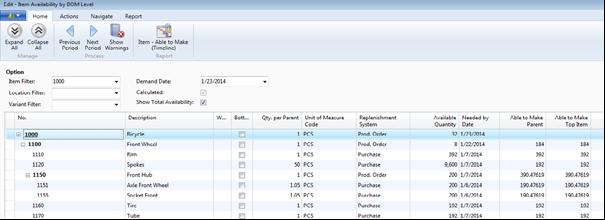 Microsoft Dynamics NAV Item Availability