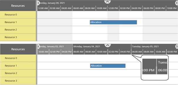 Visual Scheduling Widget - visually collaps nonworking times