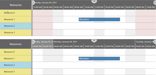 Visual Scheduling Widget -collaps common non-working times of resources