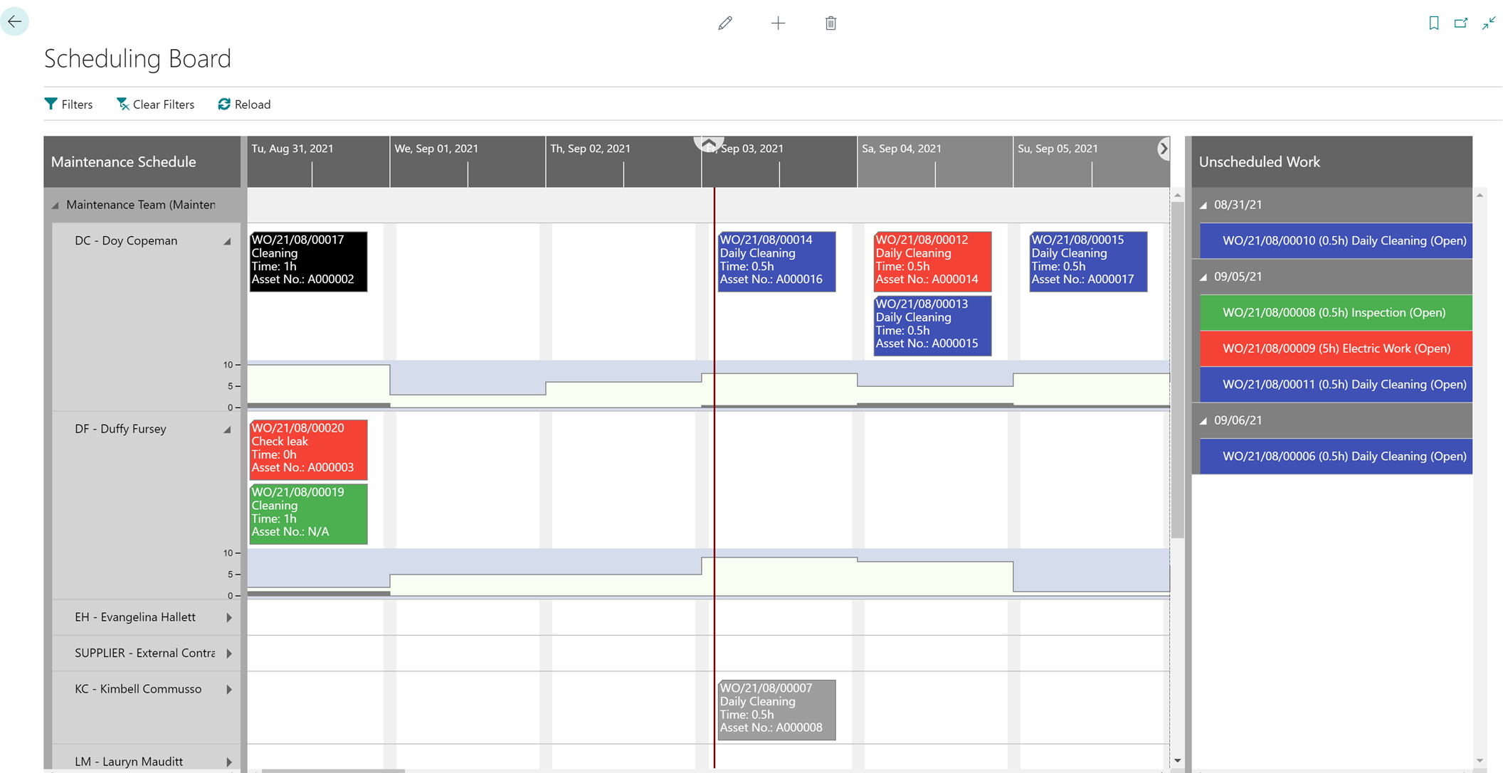 Dynaway Scheduling Board for asset management with manual scheduling of work orders for Microsoft platforms