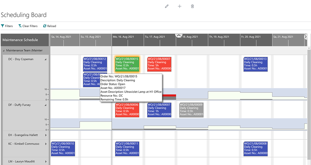Dynaway Scheduling Board with tooltip for more information