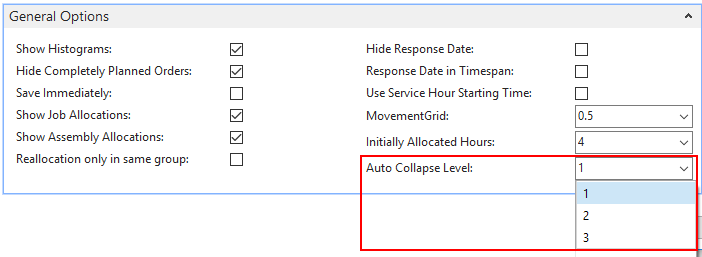 specify collapsing level for start