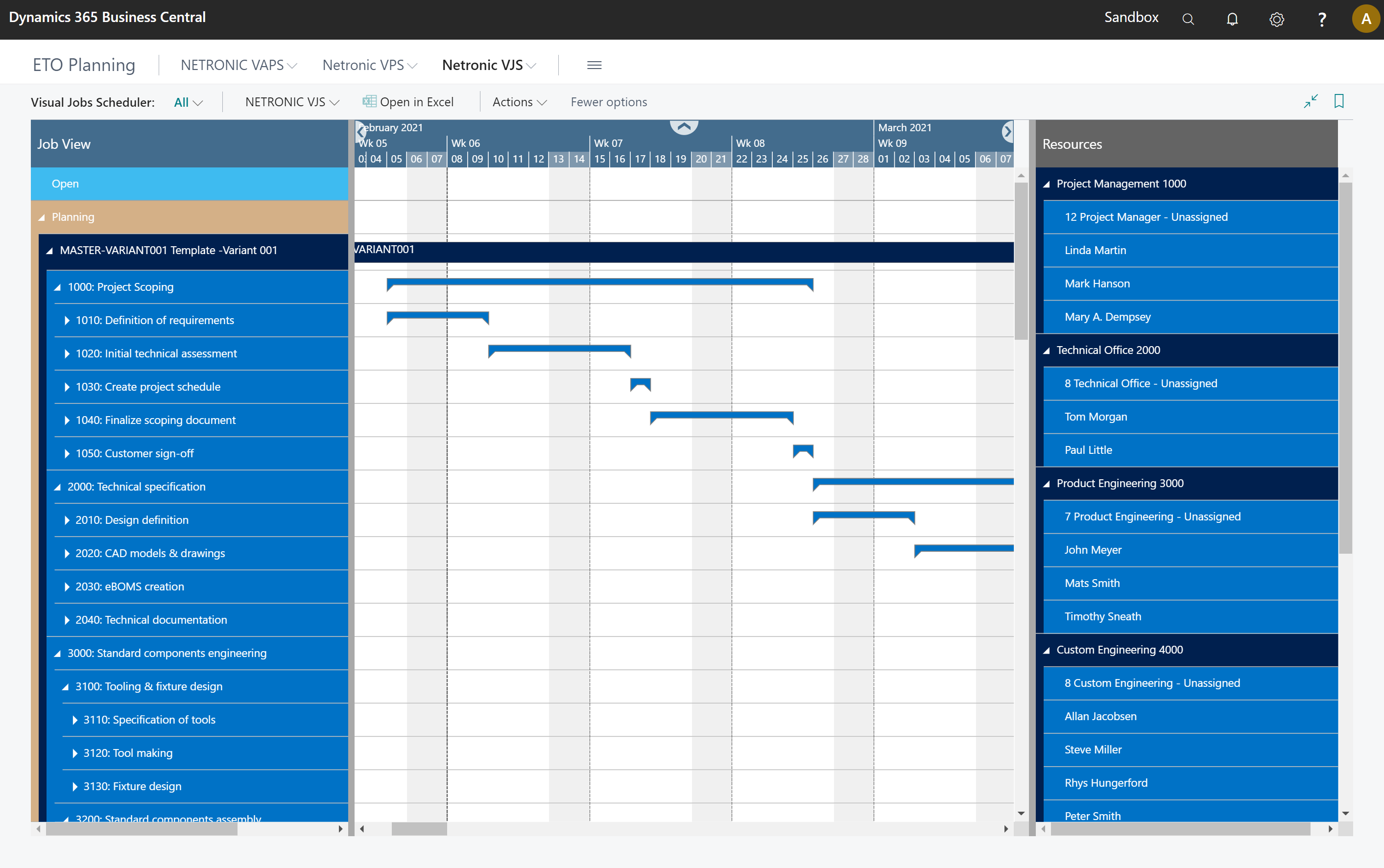 Project management - engineering-to-order resource scheduling - Business Central