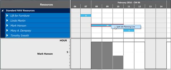 Visual Jobs Scheduler Feature Split Job Planning Lines