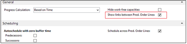 Visual Production Scheduler show links between production order lines