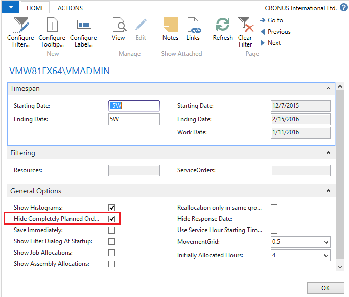 Hide allocated Service Orders in Oder Backlog in Visual Service Scheduler for Microsoft Dynamics NAV