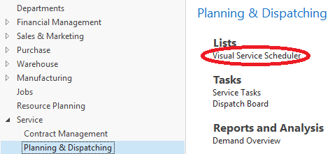 Visual Service Scheduler is seamlessly integrated in NAV Service Module