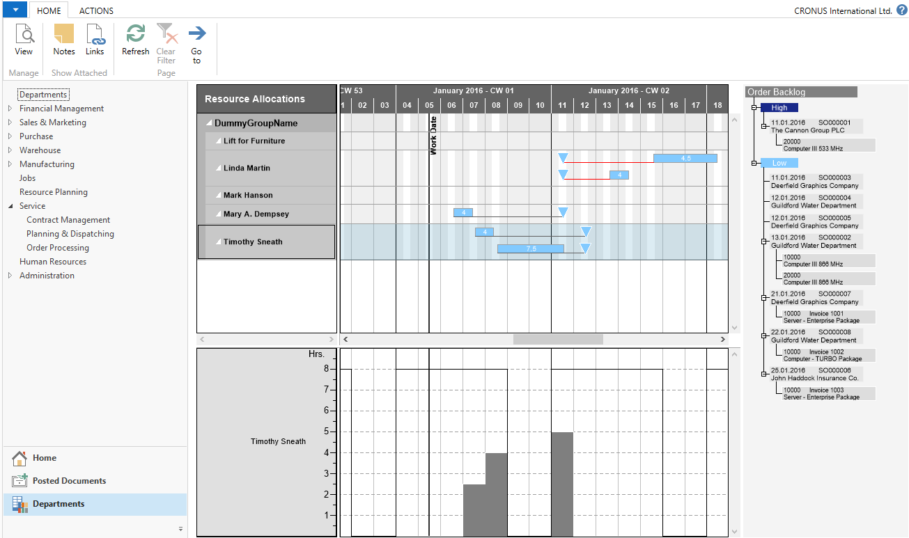 Drag & Drop to allocate Service Item Lines to resources in Visual Service Scheduler
