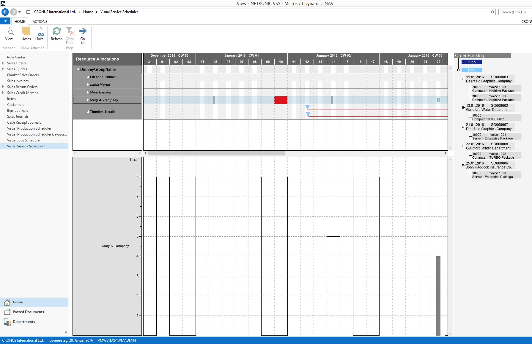 Visual Service Scheduler Double Allocation Visualization