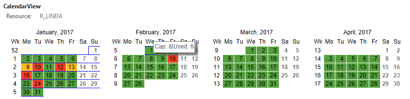 Capacity load visualized as calendarview