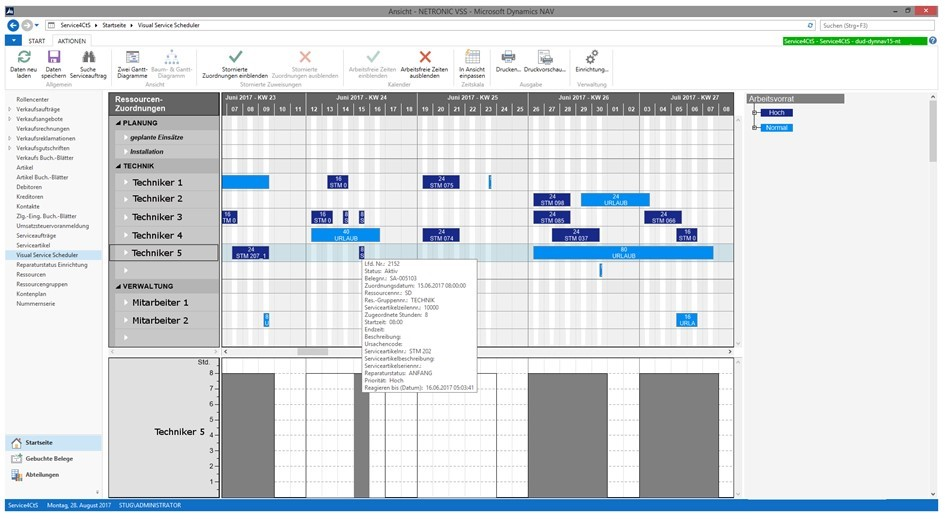 service4CtS uses Visual Service Scheduler for avoiding planning conflicts