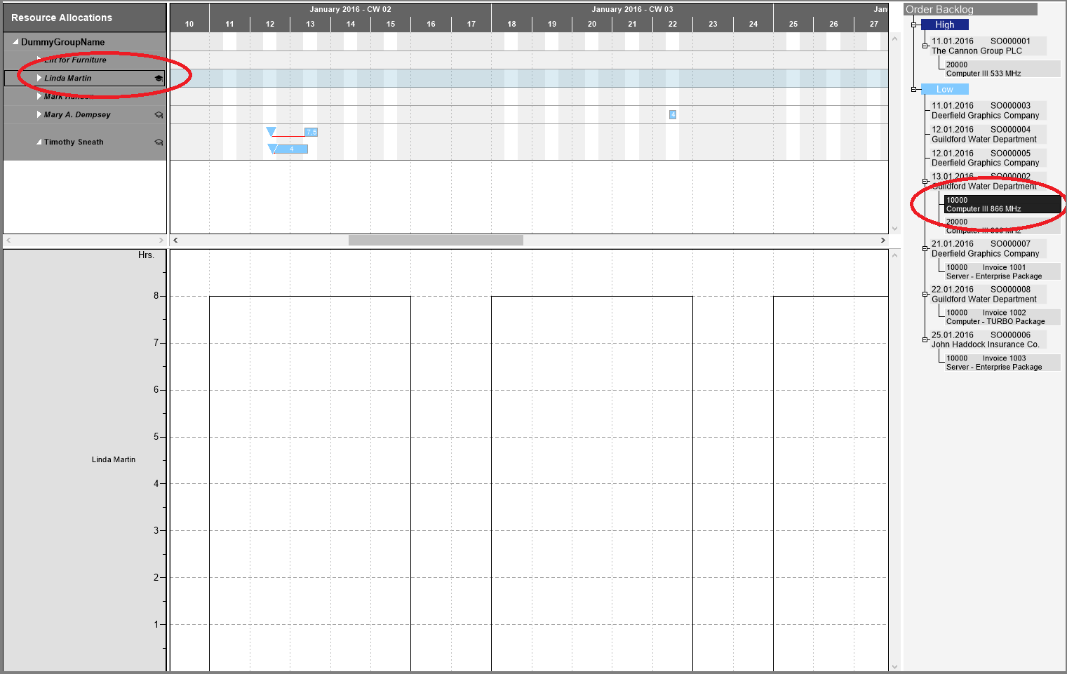 Visualization of skills in Visual Service Scheduler for NAV