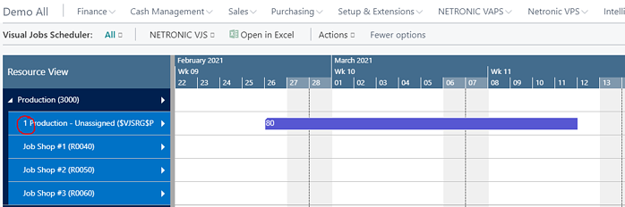 Resource view on the Visual Jobs Scheduler with an unassigned job planning line