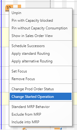 Change started operation in VAPS context menu