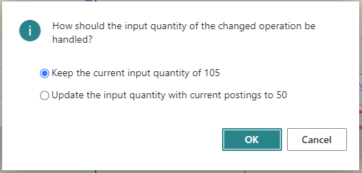 Change started operation in VAPS - input quantity