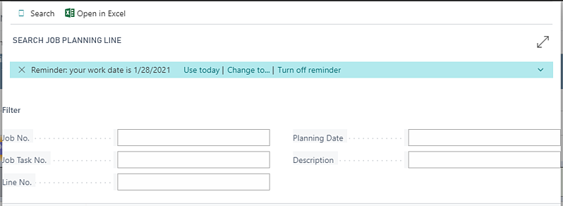 search job planning line - Visual Jobs Scheduler for Microsoft Dynamics 365 Business Central
