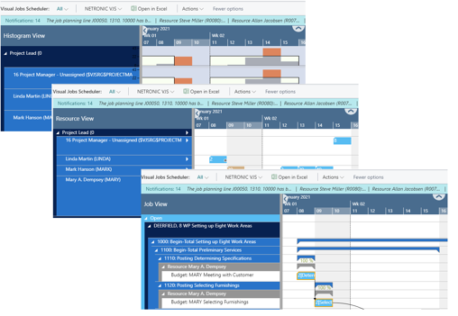 Improve project planning with Business Central - visual jobs scheduler - three different views