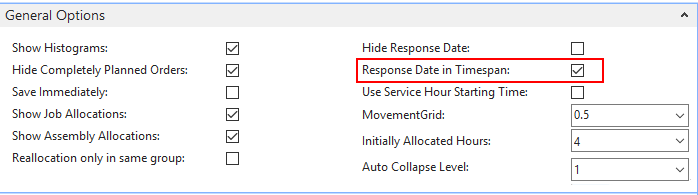 show service orders with response date in timespan