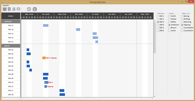 Visual Production Scheduling with Multiple Resources