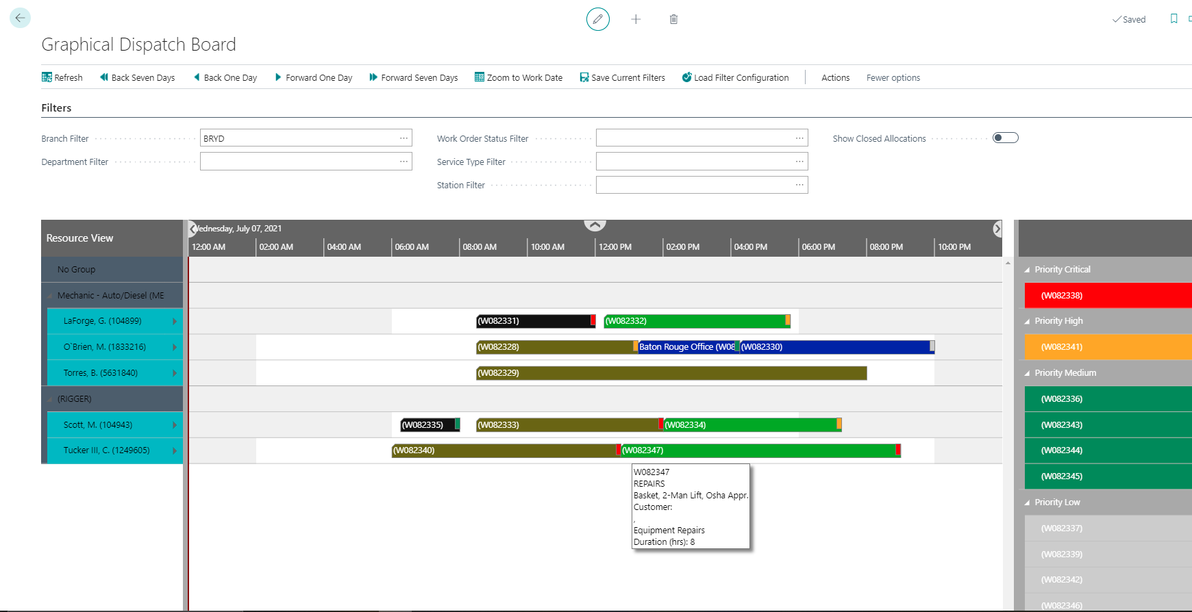 Dysel build graphical dispatch board for service planning in Dynamics 365 BC with the help of NETRONIC toolbox