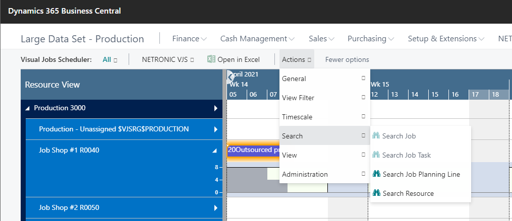 search function on Visual Jobs Scheduler for Microsoft Dynamics 365 Business Central